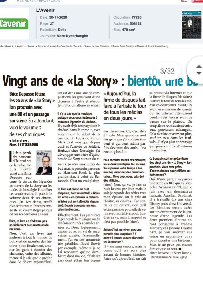 LAVENIR, Marc Uytterhaeghe,  La Story, tome 2, Brice Depasse, novembre 2020