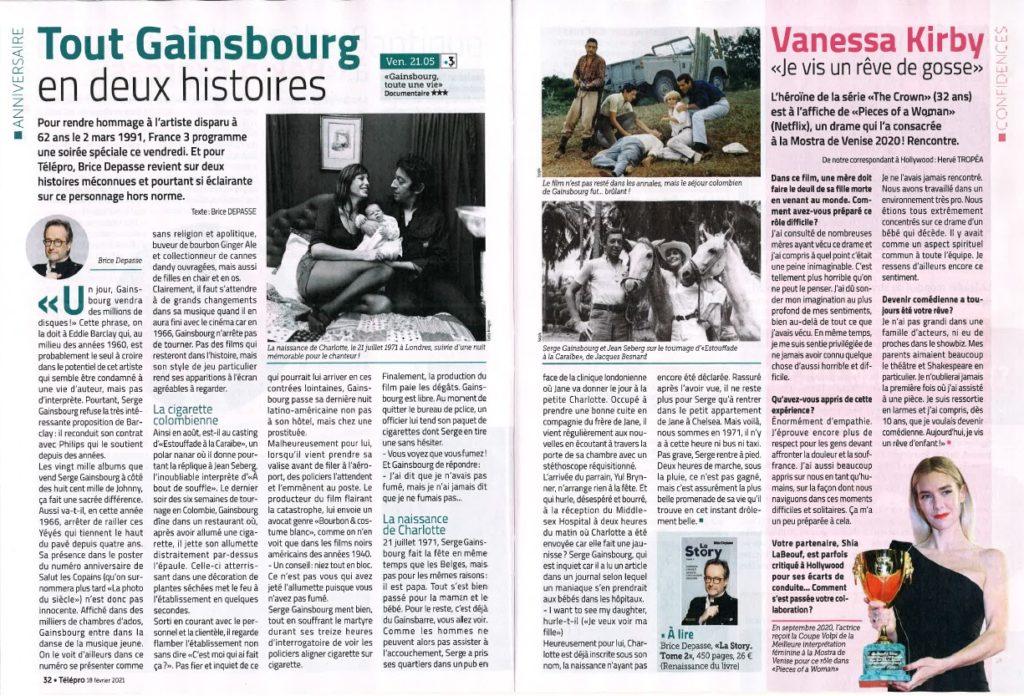 TELE PRO, Serge Gainsbourg,  La Story, tome 2, Brice Depasse, mars 2021