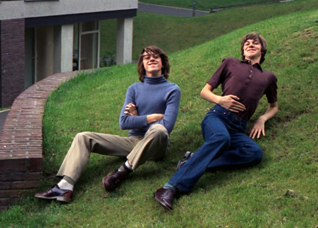 Fred Jannin et Thierry Culliford en 1971. Potes de puis plus de 40 ans.