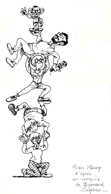 Le studio Peyo dans les années 80 par Alain Maury Avec de haut en bas : Daniel Desorgher, José Grandmont, Jean-Luc Van De Waele, Alain Maury et Bernard Swysen